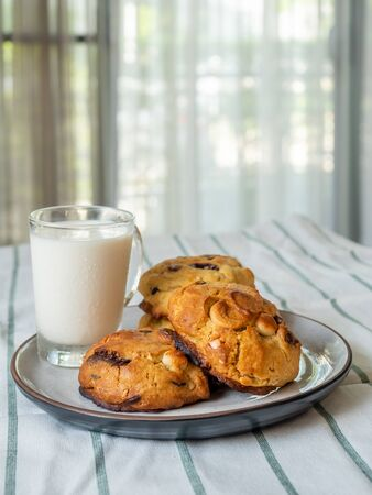 Chunky chewy chocolate chip soft cookies with cup of cold milk for breakfast, selective focus on melting chocolate chips 스톡 콘텐츠 - 148363436
