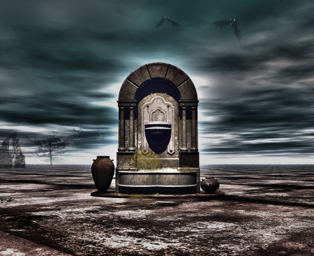 tomb empty: The fountain mystical  Stock Photo