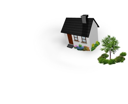 house with the green 3D rendering Stock Photo