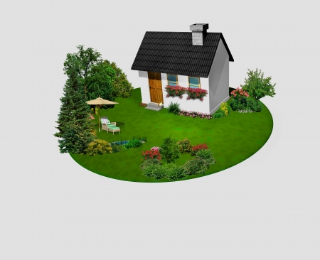House with flowers and trees on the circle garden 3D rendering