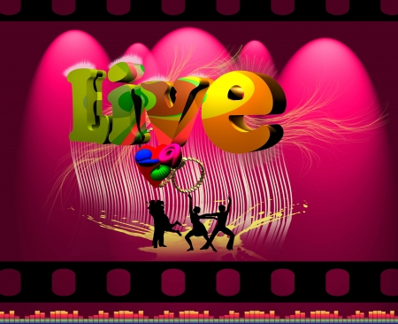 Music and dancing purple poster 3D live