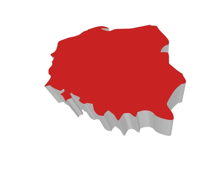 Polish Map 3D rendering on a white background Stock Photo