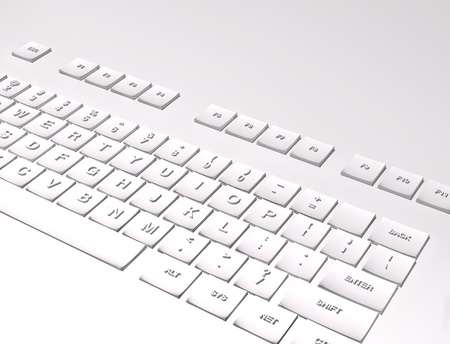 White keyboard on white background 3D