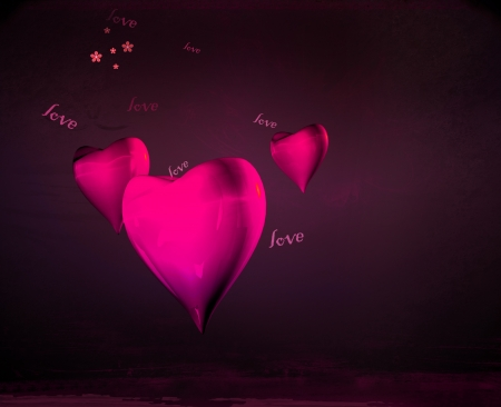 Transparent pink hearts on birthday and Valentine s Day