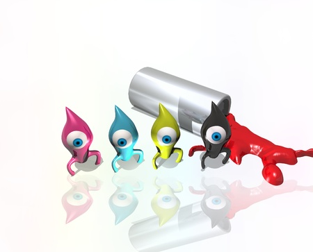 Funny drops CMYK colors in the background silver tube and poured red paint Stock Photo