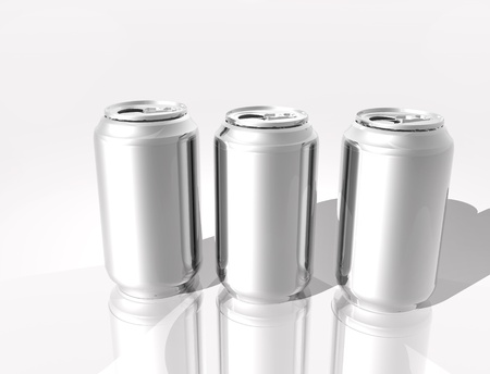 Aluminum 3D cans isolated on white  background