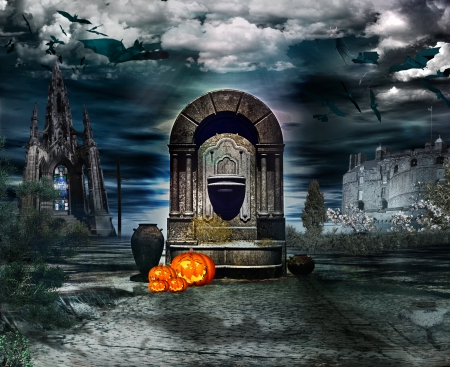 Mystic fountain in the feast of halloween Stock Photo