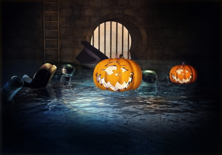 Pumpkin floating on the water