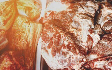 Raw meat close up. Store display. Butcher display.Beef Slice,Beef Brisket,chadolbagi, beef, brisket . Image taken at market , concept of selling fresh meat , flesh