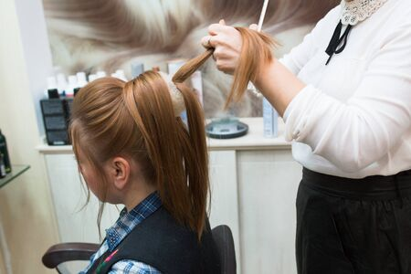 Young blonde attractive woman visiting hairdresser. Health And Beauty. Close-up of hair dryer, concept cut salon, female stylist. Comb hair. Master prepares the teen client to restore the procedures