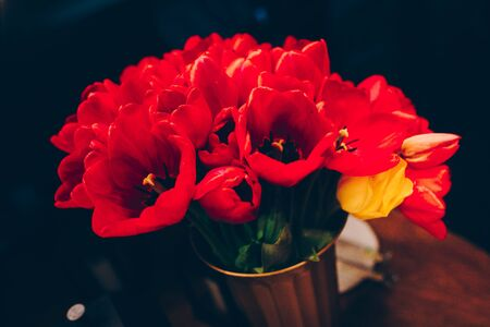 bunch of Pink and red white tulips bouquet of mixed flowers .  Fresh spring Summer background