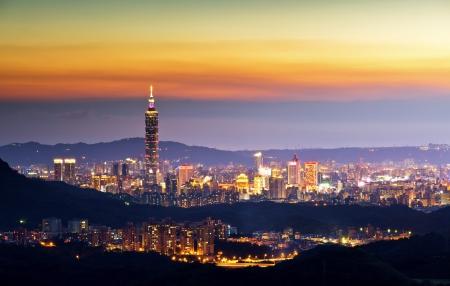 taipei: Taiwan taipei 101 dusk  Stock Photo