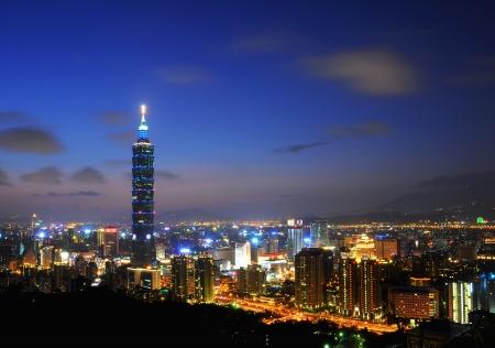 no cloud: The Taipei 101 and Taipei city night view