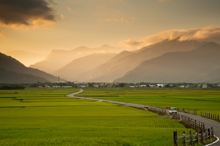 Beautiful pastoral scene in Taitung, Taiwan Stock Photo