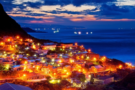 Mooie avond uitzicht van de Taiwanese kust