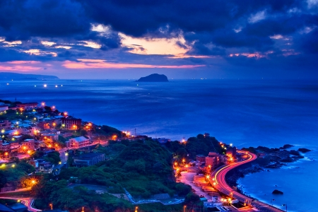 no cloud: Beautiful night view of the Taiwan coast Stock Photo