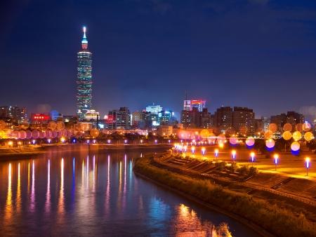 landscape riverside: Taiwan Taipei Beautiful night view