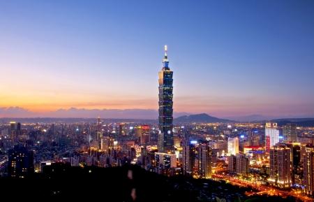 international landmark: Taipei city at dusk views