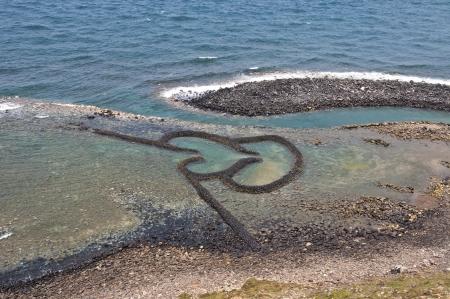 Taiwan Attractions Twin Hearts Stone Tidal Weir Zdjęcie Seryjne