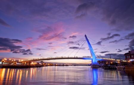 Taiwan Taipei Coastal Bridge night scene  写真素材