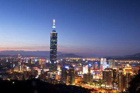 The Taipei 101 and Taipei city night view