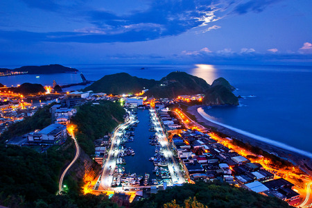 Taiwan Su-ao- Harbor night 写真素材