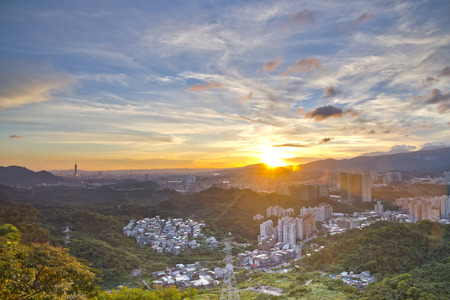 urban landscapes: Sunset scenery in Taipei Taiwan Stock Photo