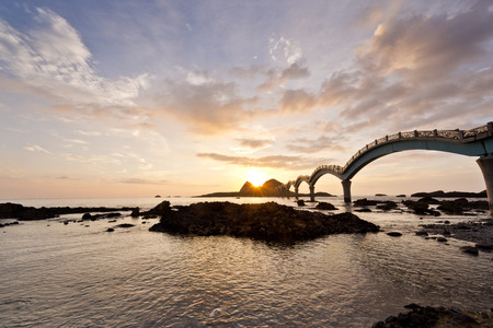 The coast beautiful sunrise in Taiwan Sanxiantai Stock Photo