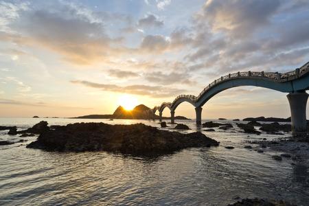 The coast beautiful sunrise in Taiwan Sanxiantai 写真素材