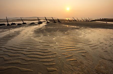 Anti-landing iron on the beach in Kinmen, Taiwan 写真素材