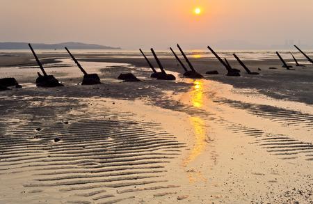 taiwan scenery: Anti-landing iron on the beach in Kinmen, Taiwan Stock Photo