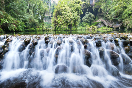 rapid: Beautiful waterfall in Taiwan Nantou
