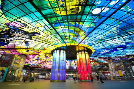 glasswork: Kaohsiung MRT Station, TAIWAN -June 17th, 2017: The Dome of Light at Formosa Boulevard Station. It is considered most beautiful MRT Station in the Taiwan.