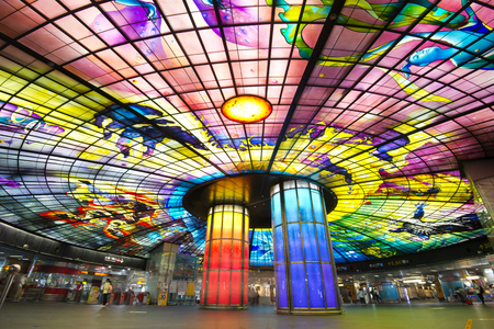 Kaohsiung MRT Station, TAIWAN -June 17th, 2017: The Dome of Light at Formosa Boulevard Station. It is considered most beautiful MRT Station in the Taiwan.