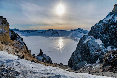 The beautiful Heavenly Lake (TianChi) in the winter of Chang Bai Mount, Jilin province, China