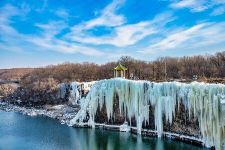 Diaoshuilou waterfall,Jingbo Lake scenery in winter,China Stock fotó