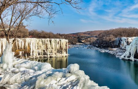 Diaoshuilou waterfall,Jingbo Lake scenery in winter,China 版權商用圖片