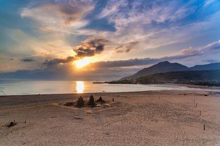 Sunrise scenery of coast in Fulong Beach ,Taiwan Stok Fotoğraf