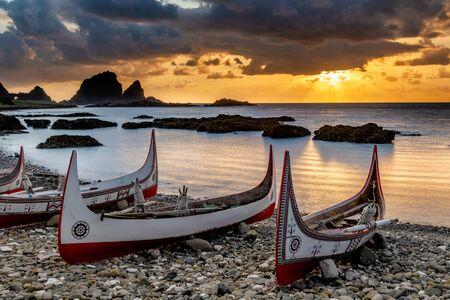 Aboriginal canoe at sunrise, In Lanyu (Orchid Island), Taitung, Taiwan
