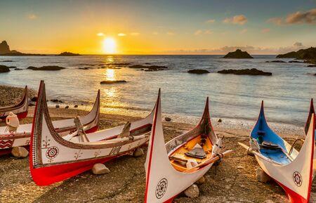 Aboriginal canoe at sunrise, In Lanyu (Orchid Island), Taitung, Taiwan Reklamní fotografie