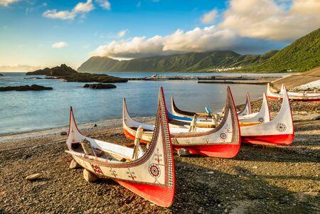 Aboriginal canoe at Lanyu (Orchid Island), Taitung, Taiwan Фото со стока