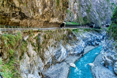 Scenery of Taroko gorge.Taroko national park, Hualien. This is a famous attraction in Taiwan Imagens - 131640125