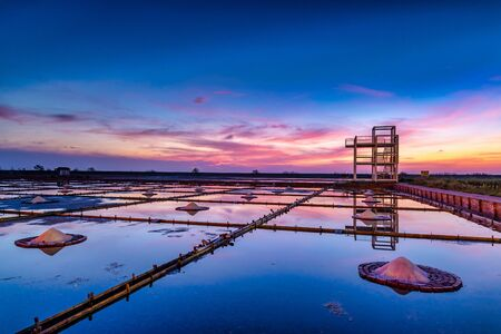 Picturesque place at sunset,Jing Zhai Jiao Tile- Paved Salt Fields in Tainan, Taiwan