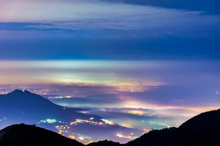 Night scenery of Yangmingshan , The fog settled over the city in Teipei, Taiwan