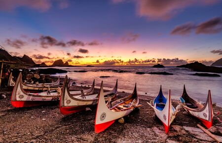 Traditional boats at sunrise. The boats belong to an ethnic group there.In Lanyu (Orchid Island), Taitung, Taiwan
