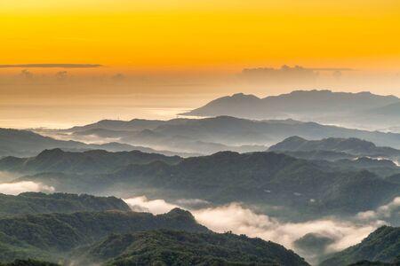 Beautiful sunrise scenery of mountains in New Taipei City,Taiwan