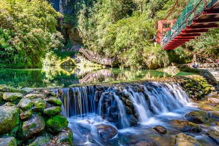 Beautiful waterfall of Sun Link Sea Forest Recreation Area , Nantou, Taiwan