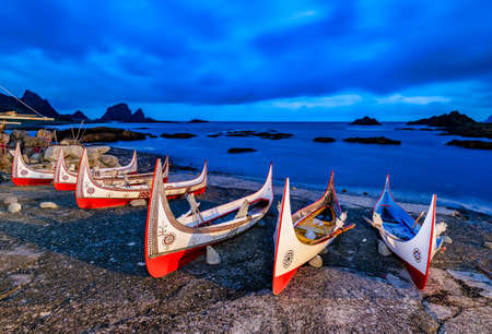 Traditional boats at sunrise. The boats belong to an ethnic group there.In Lanyu (Orchid Island), Taitung,Taiwan