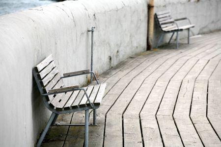 holidays vacancy: bench     in a harbor in denmark