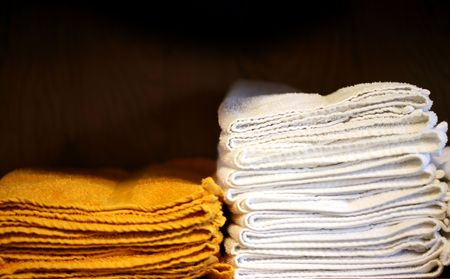 yellow and white towels Stock Photo